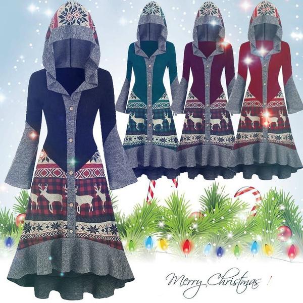 hooded, ruffled, Dress, costumeforwomen