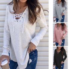 Fashion, loose top, Long Sleeve, Tops