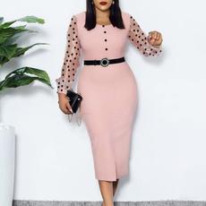 Fashion, transparentmesh, Long Sleeve, officeladydre