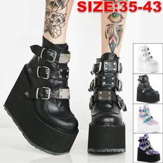 ankle boots, Fashion, highwedgesshoe, Buckles