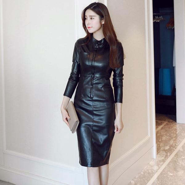 slim dress, leather dress, Fashion, leatherdresswomen