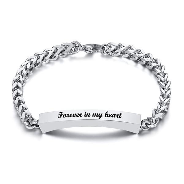 Steel, memorialsilverbracelet, Jewelry, Stainless Steel