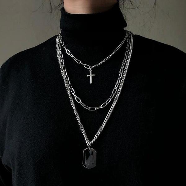 punk necklace, Cross necklace, Metal, punk