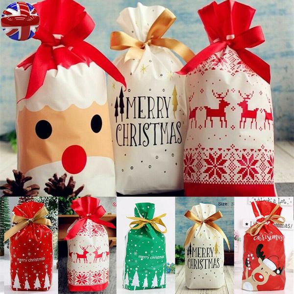 New Christmas Sacks Reusable Drawstring Wrap Present Gift Party Bags Storage