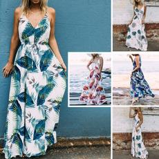 Deep V-Neck, Summer, Fashion, long dress