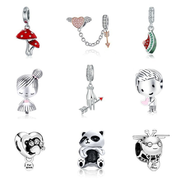 Sterling, Heart, charms for pandora bracelets, Fashion
