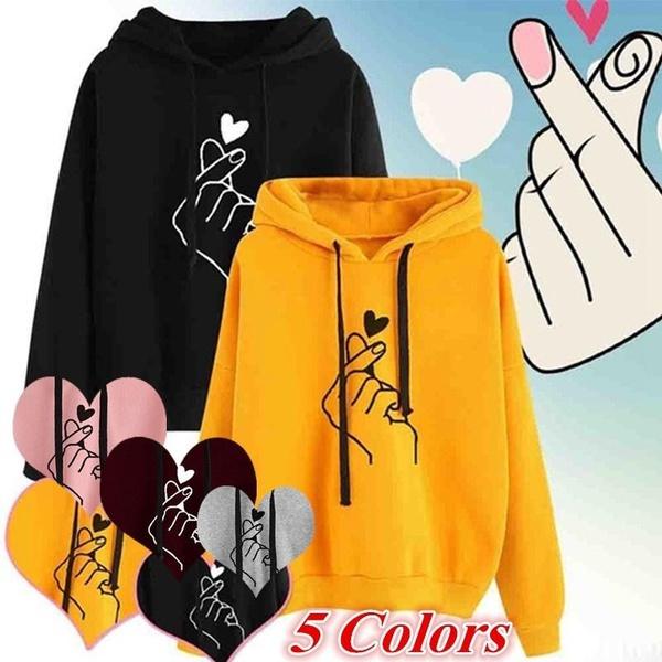 Heart, woman fashion, hooded, Tops & Blouses