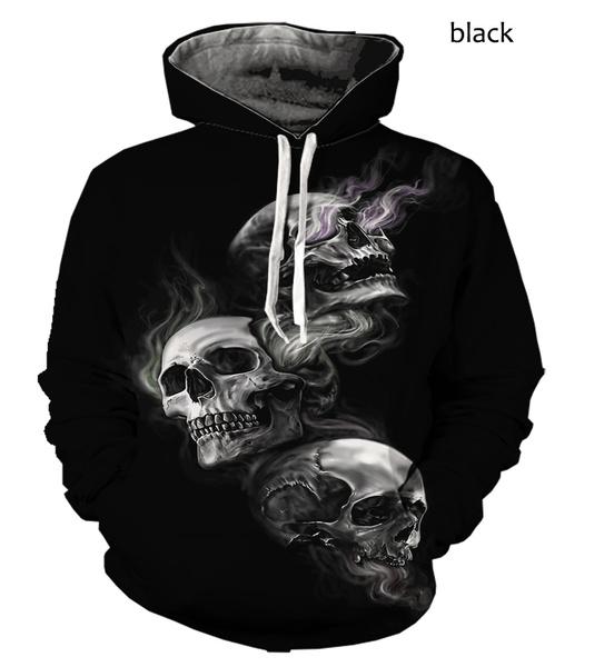 3D hoodies, Men's Hoodies & Sweatshirts, Sleeve, skull
