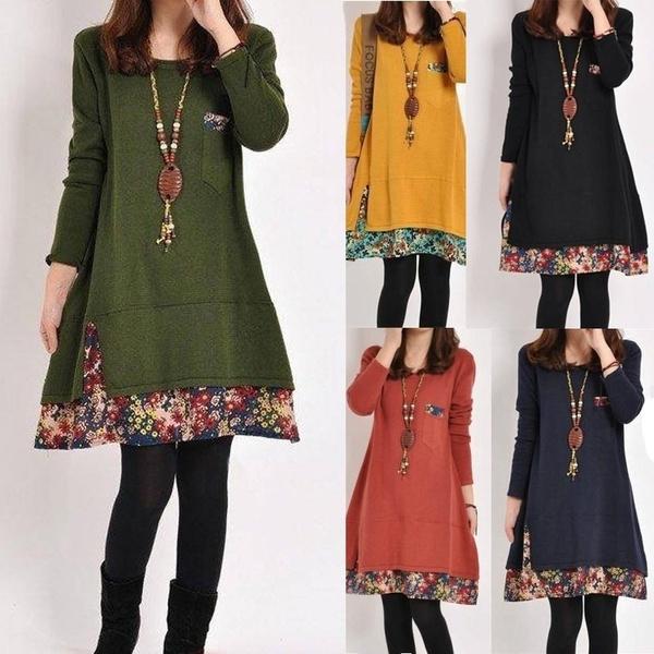 Plus Size, A-line, Long Sleeve, Dress