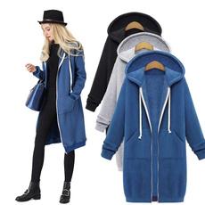 hooded, velvet, cardigan for women, Coat