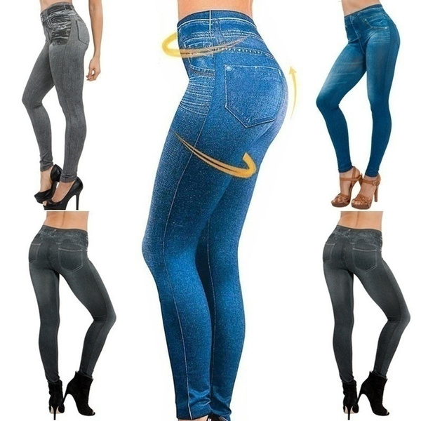 Leggings, Plus Size, Yoga, fakedenimlegging