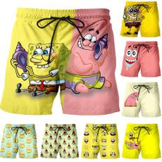 Funny, Beach Shorts, Cosplay, Sponge Bob