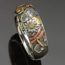 Sterling, dragon fly, vintage ring, gold