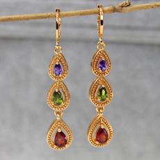 gemstonedangleearring, Women, Fashion Accessory, circlejewelry