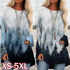 Plus Size, Long Sleeve, printed shirts, Loose