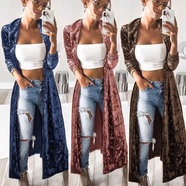 cardigan, velvet, Sleeve, Long Coat