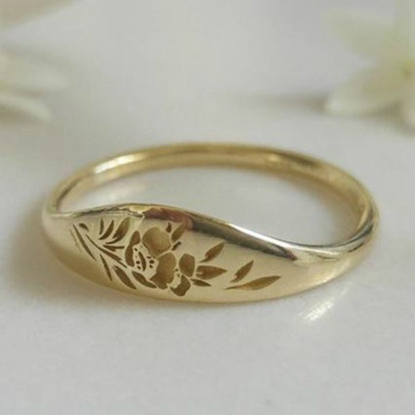 Flowers, 925 sterling silver, wedding ring, gold