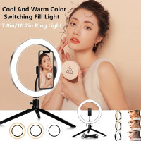 Lepeuxi Controllable Selfie Ring Light with Clamp Cell Phone Holder for Live Stream Video Chat Flexible Long Arms Lazy Bracket for Easy Watching