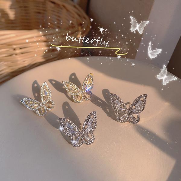butterfly, DIAMOND, Jewelry, Stud Earring