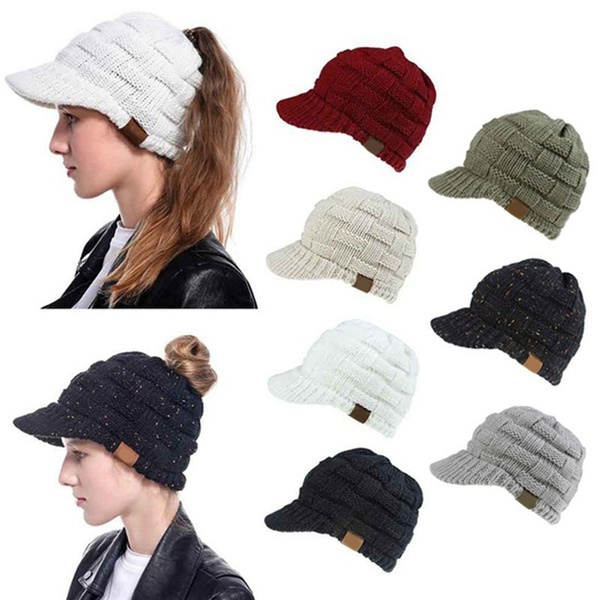 Warm Hat, messybunhat, Winter, Cap