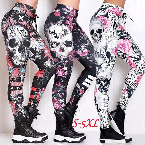 skull leggings, Leggings, Plus Size, print leggings