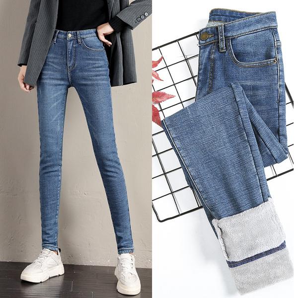 womenstraightjean, Fleece, trousers, Waist