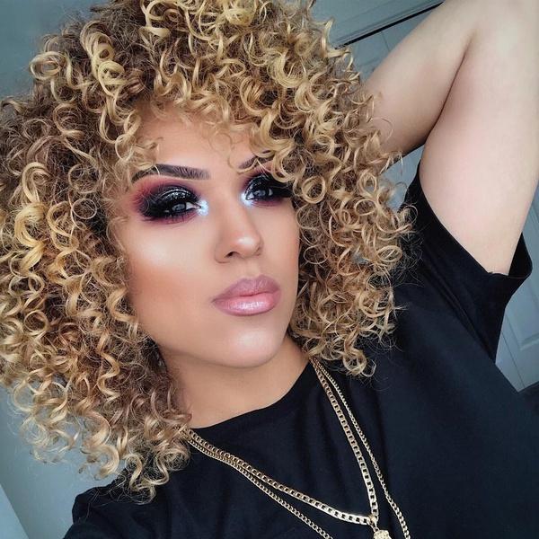 wig, brown, curly wig, fullwig