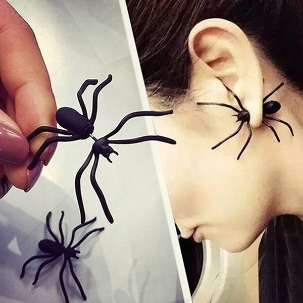 Black Halloween Party Puncture Ear Studs Funny Black Spider Decoration One Earring