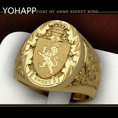lionring, vintage ring, shield, crownring