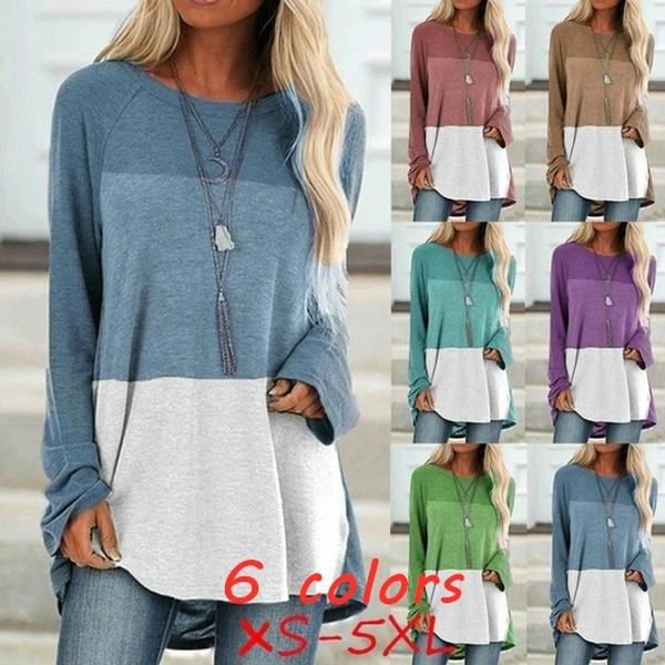 Plus Size, Shirt, Sleeve, Round Collar