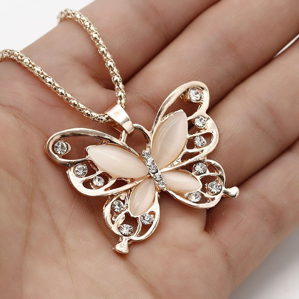 butterfly, Fashion, gold, necklace for women