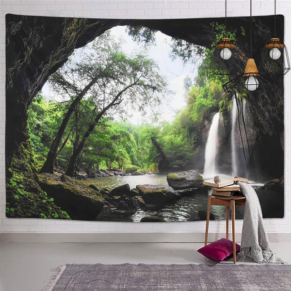 Beautiful, waterfalltapestry, Decor, Yoga