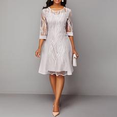 Bridesmaid, Round neck, Lace, ladies dress