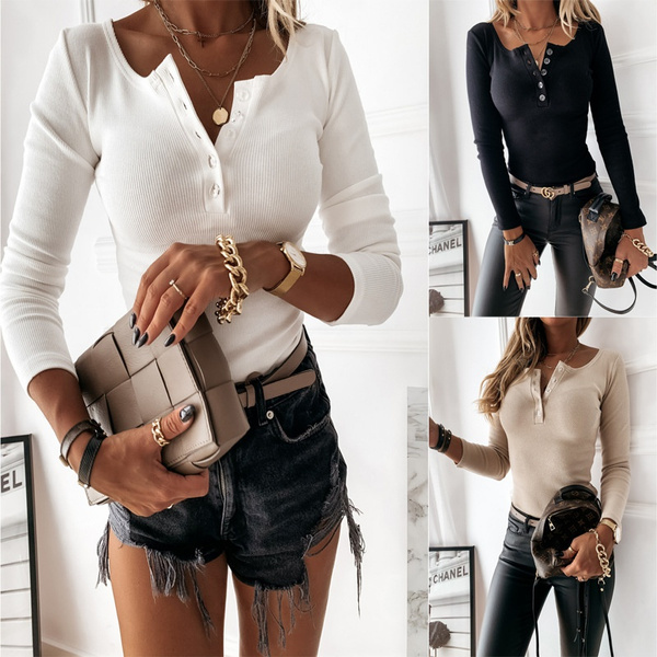 Fashion, solidcolorsweater, slim, buttonsweater