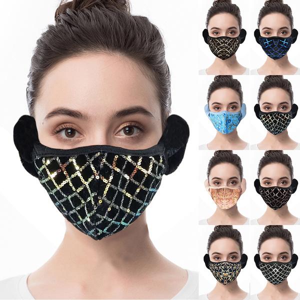 Outdoor, womenfacecover, sequinmask, 2in1warmmaskearmuff