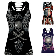 Summer, Vest, Plus Size, skullprint