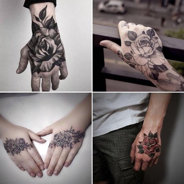 tattoo, Flowers, skull, Waterproof