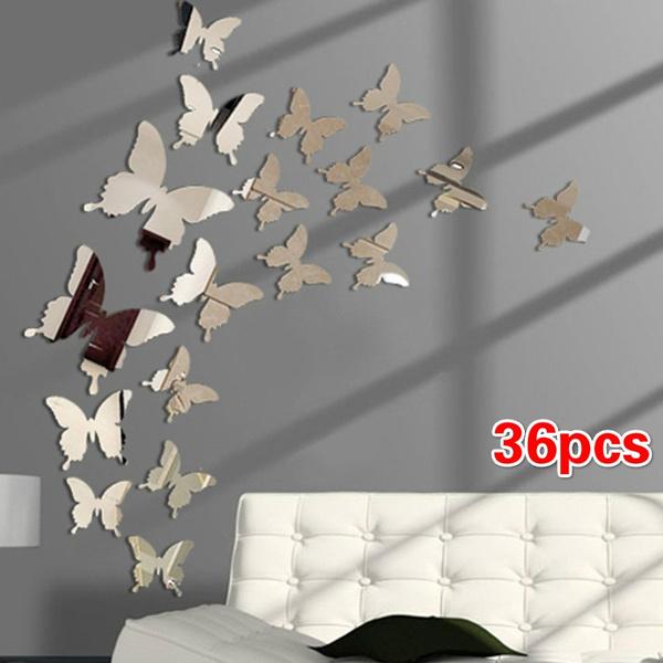 12 24 36pcs 3d Erfly Mirror Wall, Mirror Decoration Stickers