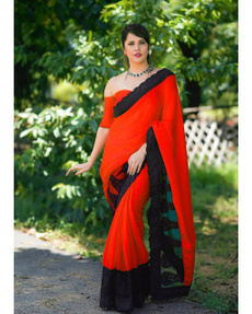 Beautiful, saree, redsaree, Lace