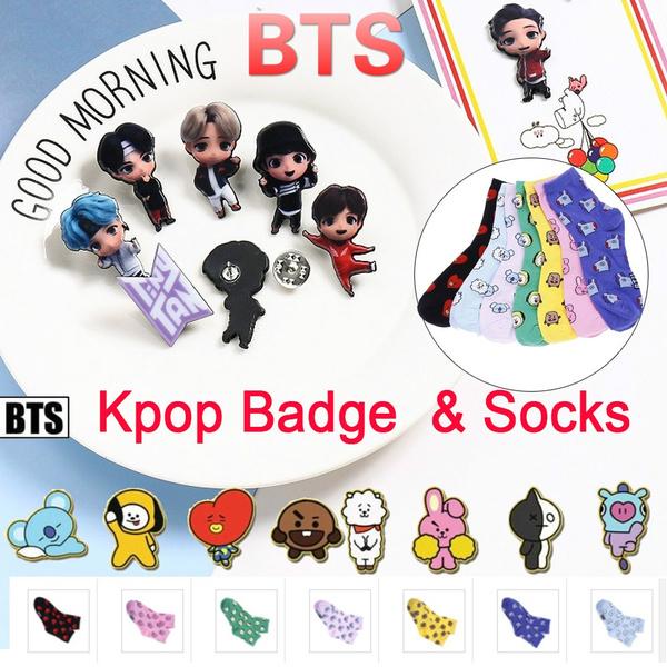 K-Pop, cute, btsbadge, Cotton Socks
