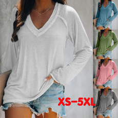 Plus Size, Women's Casual Tops, Shirt, V-neck