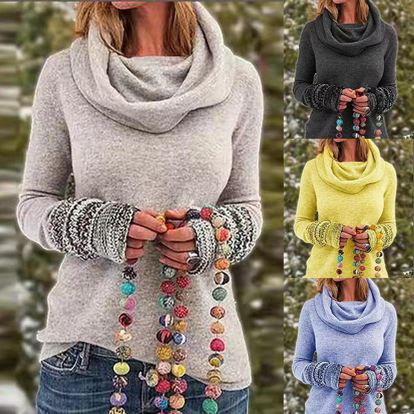 Fashion, Winter, solidcolorsweater, scarfcollar