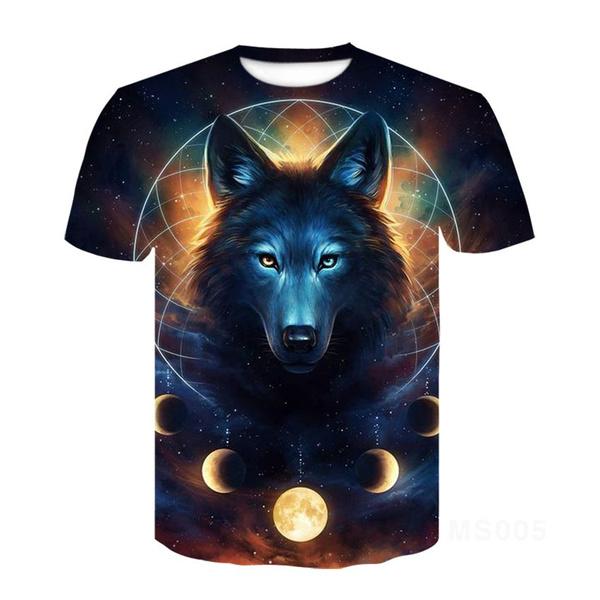 Funny, wolfprinttshirt, Fashion, Shirt