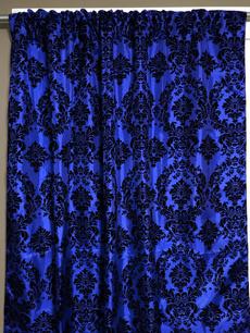 Blues, damaskpanel, Wool, damask