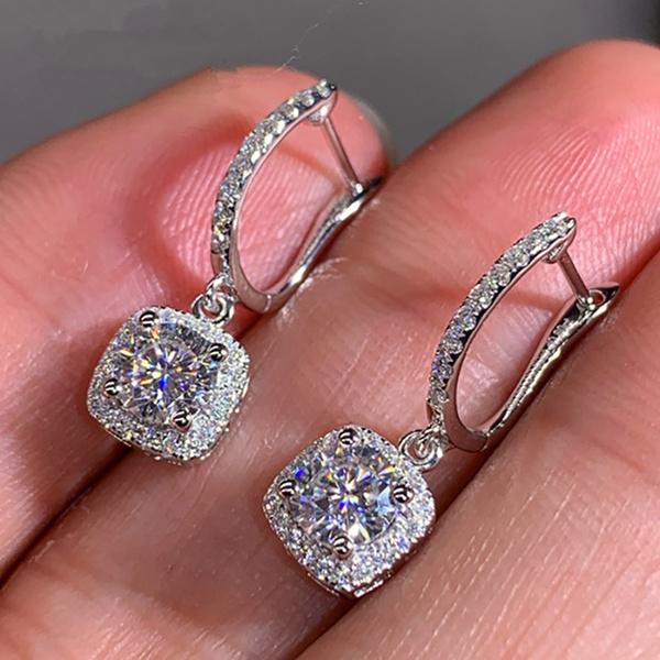 Sterling, DIAMOND, Sterling Silver Earrings, wedding earrings
