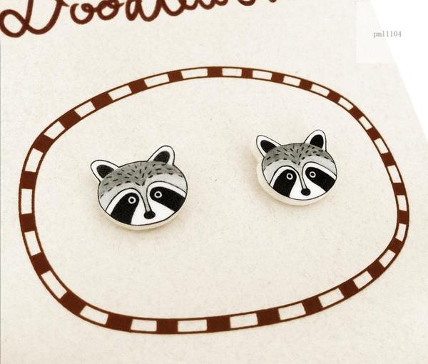 raccoonearring, Jewelry, raccoonjewellery, Stud Earring