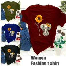 Short Sleeve T-Shirt, Elephant, Sunflowers, Tops