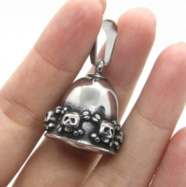 skullnecklace, bellnecklace, punk necklace, Jewelry