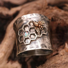 Sterling, honeycombring, 925 silver rings, honeycombbeering