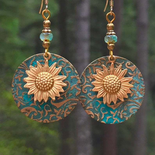 Fashion, Jewelry, Sunflowers, retro earrings
